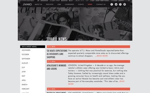Screenshot of Press Page jivaro.com.au - Jivaro News in Fashion and Retail - captured Nov. 17, 2016