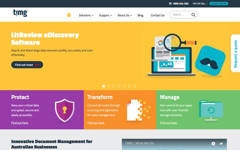 Screenshot of Home Page Services Page timg.com - Document Management in Sydney, Melbourne, Perth, Brisbane Australia - captured Jan. 1, 2018