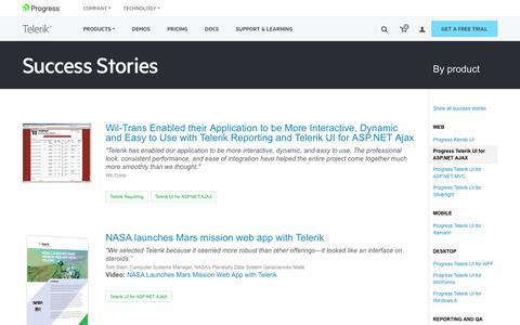 Screenshot of Testimonials Page telerik.com - Telerik UI for ASP.NET AJAX >> Telerik Success Stories - captured Jan. 20, 2018