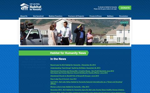 Screenshot of Press Page habitatsaltlake.com - Habitat for Humanity | Events and Press | In the News - captured Oct. 3, 2014