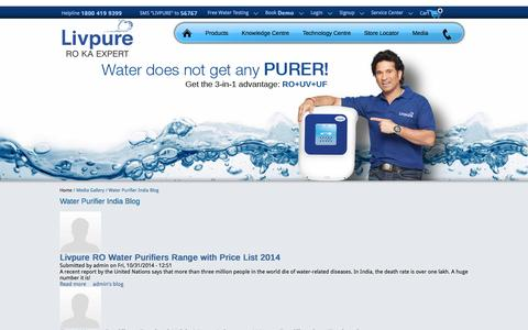 Screenshot of Blog livpurewater.com captured Nov. 2, 2014