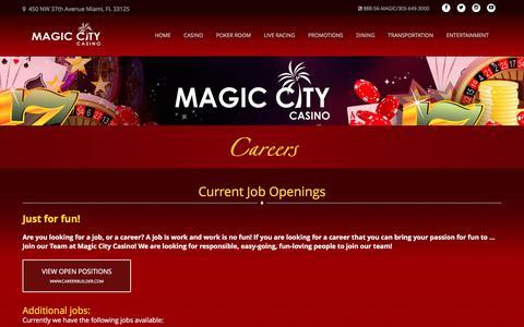 Screenshot of Jobs Page magiccitycasino.com - Careers | Magic City Casino - captured March 6, 2018