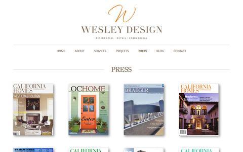 Screenshot of Press Page wesleydesigninc.com - Press   Susan Wesley - captured Oct. 7, 2014