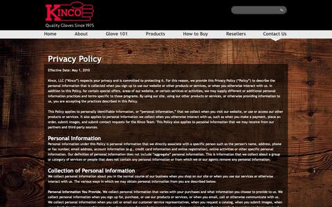 Screenshot of Privacy Page kinco.com - Privacy Policy | Kinco® Work Gloves - captured Oct. 15, 2018