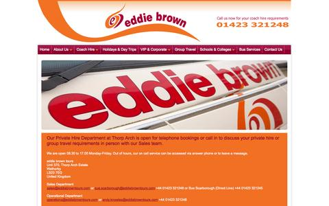 Screenshot of Contact Page eddiebrowntours.com - eddie brown tours is located at Thorp Arch Estate near Wetherby and serves the areas of York , Harrogate and Leeds. - captured Sept. 30, 2014