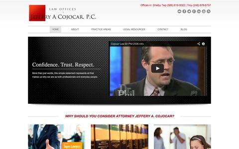 Screenshot of Home Page cojocarlaw.com - COJOCAR LAW - Michigan's most trusted full service law firm - captured Sept. 30, 2014