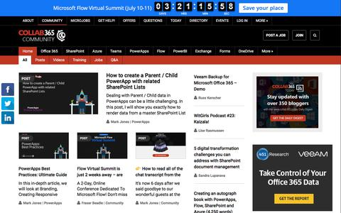 Screenshot of Home Page collab365.community - Collab365 Community - The Community for Microsoft Enthusiasts - captured July 6, 2019