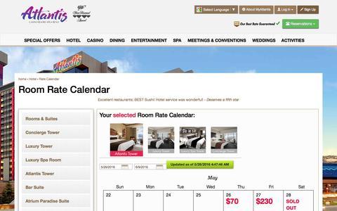 Screenshot of atlantiscasino.com - Room Rate Calendar | Reno Hotel Deals | Atlantis Casino Resort - captured May 26, 2016