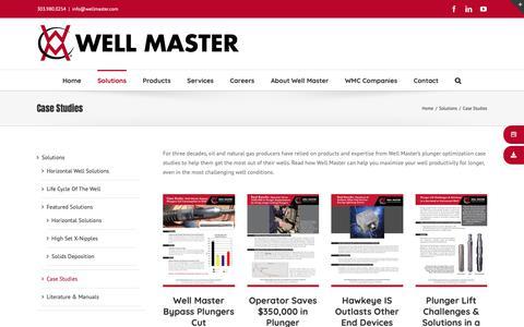 Screenshot of Case Studies Page wellmaster.com - Well Master's Plunger Optimization Case Studies - captured Oct. 20, 2018