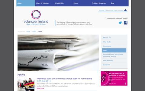 Screenshot of Press Page volunteer.ie - News | About - Volunteer Ireland - captured Oct. 7, 2014