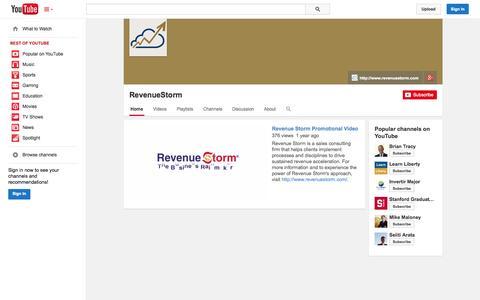 Screenshot of YouTube Page youtube.com - RevenueStorm  - YouTube - captured Oct. 29, 2014