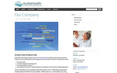 Screenshot of About Page audiahealth.com - AudiaHealth - a human voice to help you healOur Company - captured Oct. 4, 2014