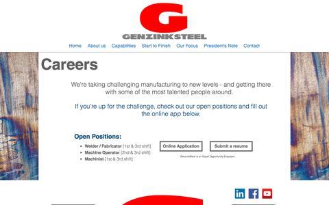 Screenshot of Jobs Page genzinksteel.com - Genzink Steel: Fabrication and Welding Contract Manufacturer   Careers - captured July 17, 2018