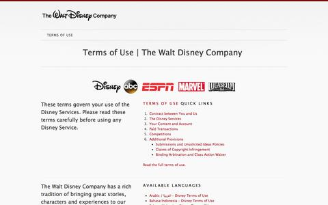 Screenshot of Home Page Terms Page disneytermsofuse.com - Disney Terms Of Use | The Walt Disney Company - captured Sept. 22, 2014