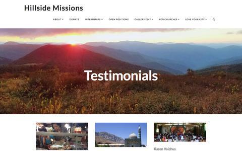 Screenshot of Testimonials Page reachthenations.org - Testimonials | Hillside Missions - captured Nov. 9, 2016