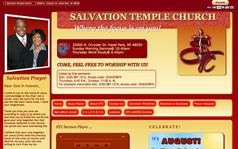 Screenshot of Home Page salvationtchurch.org - SALVATION TEMPLE CHURCH - captured Oct. 4, 2014
