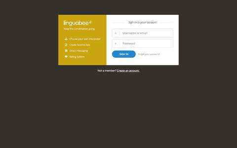 Screenshot of Login Page linguabee.com - Sign In | Linguabee - captured Dec. 10, 2015