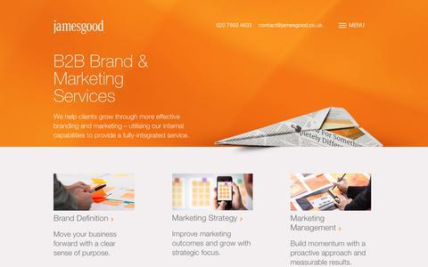 Screenshot of Services Page jamesgood.co.uk - B2B Brand & Marketing Services – James Good - captured Sept. 20, 2018