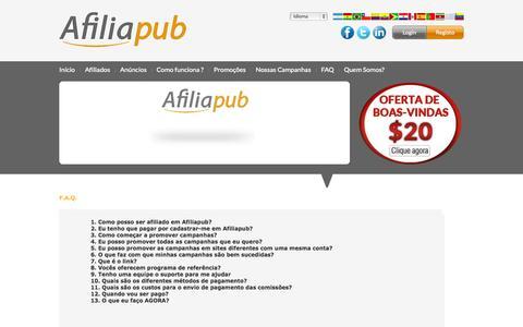 Screenshot of FAQ Page afiliapub.com - Afiliapub - Programa de afiliados em Brasil e Portugal - captured Oct. 31, 2014