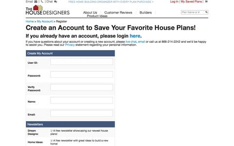 Screenshot of Signup Page thehousedesigners.com - House plans home plans from The House Designers My Account - captured Nov. 10, 2016
