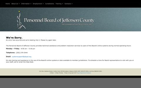 Screenshot of Login Page pbjcal.org - Error - The Personnel Board of Jefferson County - captured Dec. 14, 2018