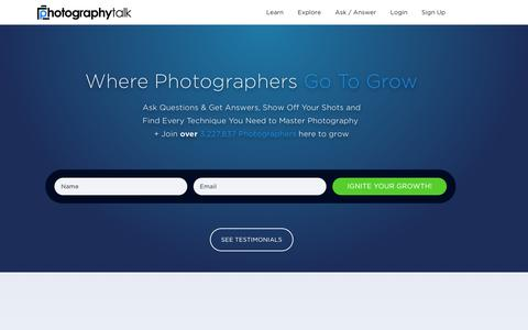 Screenshot of Home Page photographytalk.com - Join the #1 Photography Website and Photography Forum Online - captured Sept. 29, 2016