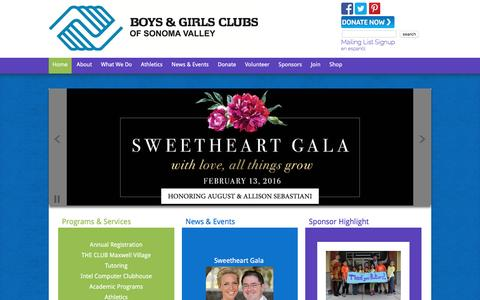 Screenshot of Home Page bgcsonoma.org - Boys & Girls Clubs of Sonoma Valley - captured Feb. 8, 2016