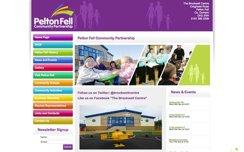 Screenshot of Home Page peltonfell.org.uk - Pelton Fell Community Partnership - The Brockwell Centre Pelton Fell - captured Oct. 2, 2014