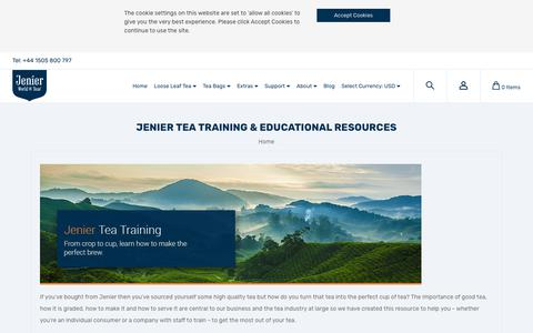 Screenshot of Support Page jenierteas.com - Tea Training and Resources - captured Sept. 24, 2018