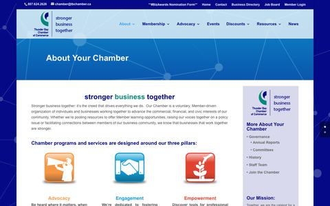 Screenshot of About Page tbchamber.ca - About - Thunder Bay Chamber of Commerce - captured Oct. 25, 2017