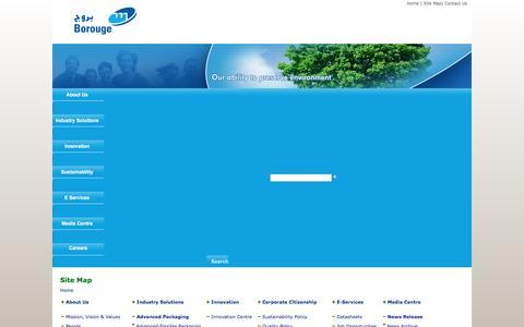 Screenshot of Site Map Page borouge.com - Home  - Borouge - captured Nov. 23, 2016