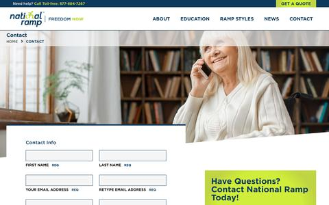 Screenshot of Contact Page nationalramp.com - Contact | National Ramp - captured Nov. 7, 2018