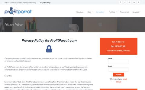 Screenshot of Privacy Page profitparrot.com - Privacy Policy - captured July 23, 2018