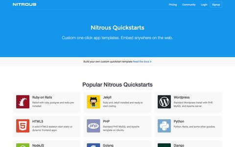 Quickstarts · Nitrous