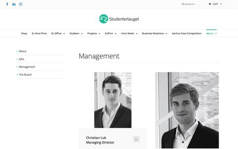 Screenshot of Team Page studenterlauget.dk - Management – Studenterlauget - captured July 14, 2018
