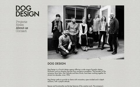 Screenshot of About Page dogdesign.fi - About us / Dog Design - captured Sept. 30, 2014