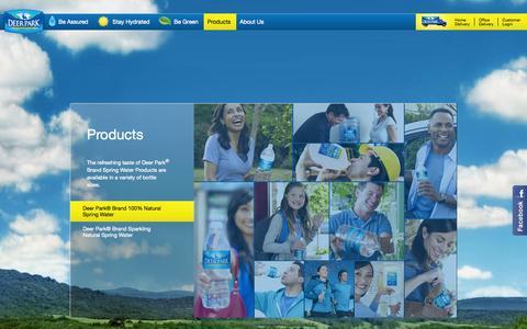 Screenshot of Products Page deerparkwater.com - Deer Park® 100% Natural Spring Water - captured Nov. 2, 2014