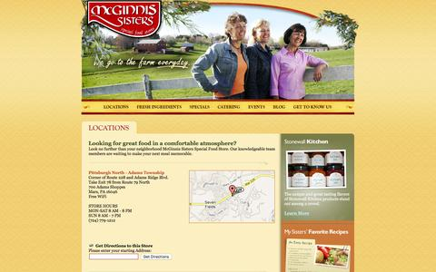 Screenshot of Locations Page mcginnis-sisters.com - McGinnis Sisters - Locations - captured Feb. 12, 2016