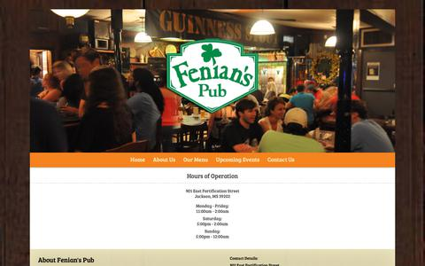 Screenshot of Hours Page fenianspub.com captured Oct. 26, 2018