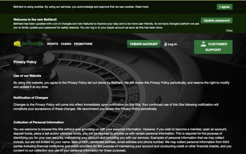 Screenshot of Privacy Page bethard.com - BetHard - Privacy policy - captured March 31, 2016