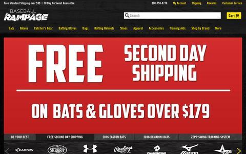 Screenshot of Home Page baseballrampage.com - Baseball Rampage - Baseball Bats, Baseball Gloves & More - captured Sept. 24, 2015