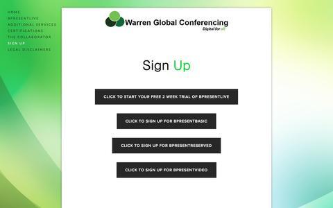 Screenshot of Signup Page warrenglobal.info - Sign Up — Warren Global Conferencing - captured Feb. 23, 2016