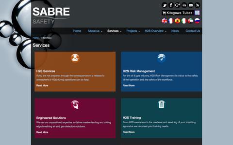 Screenshot of Services Page sabreh2s.com - Services - Sabre Safety Sabre Safety - captured Nov. 2, 2014