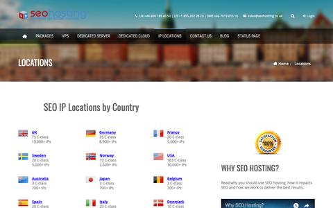 Screenshot of Locations Page seohosting.co.uk - SEO IP Country Locations  | SEO Hosting - captured Sept. 29, 2018