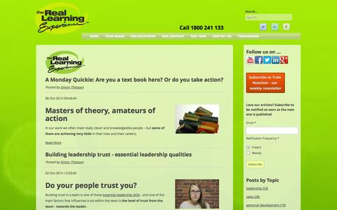 Screenshot of Blog reallearning.com.au - Articles & resources for leaders, teams and sales people - captured Oct. 6, 2014