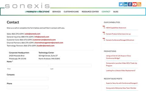 Screenshot of Contact Page sonexis.com - Sonexis Technology - Contact Information - captured Feb. 17, 2020
