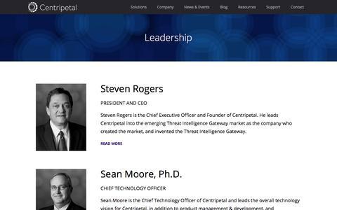 Screenshot of Team Page centripetalnetworks.com - Leadership - captured July 17, 2018