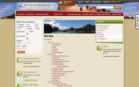 Screenshot of Site Map Page blackhillsvacations.com - BlackHillsVacations.com Site Map - captured Sept. 22, 2014