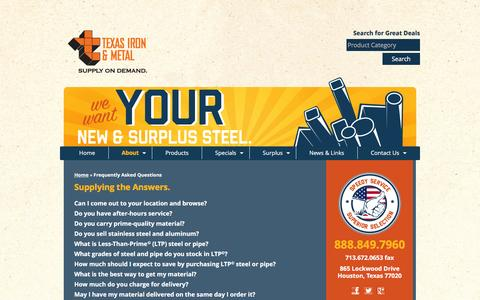 Screenshot of FAQ Page texasironandmetal.com - FAQs - Texas Iron and Metal - Steel Supply - captured Jan. 11, 2016