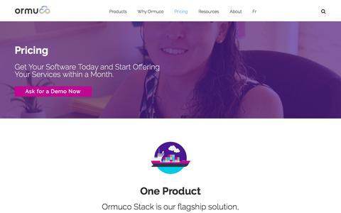 Screenshot of Pricing Page ormuco.com - Ormuco Pricing - Get Your Software Today & Start Providing Cloud Services within a Month - captured July 18, 2018